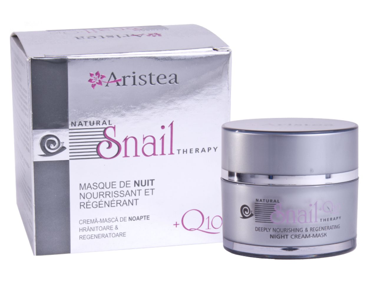 Nourishing & regenerating night cream-mask with snail extract and Q10